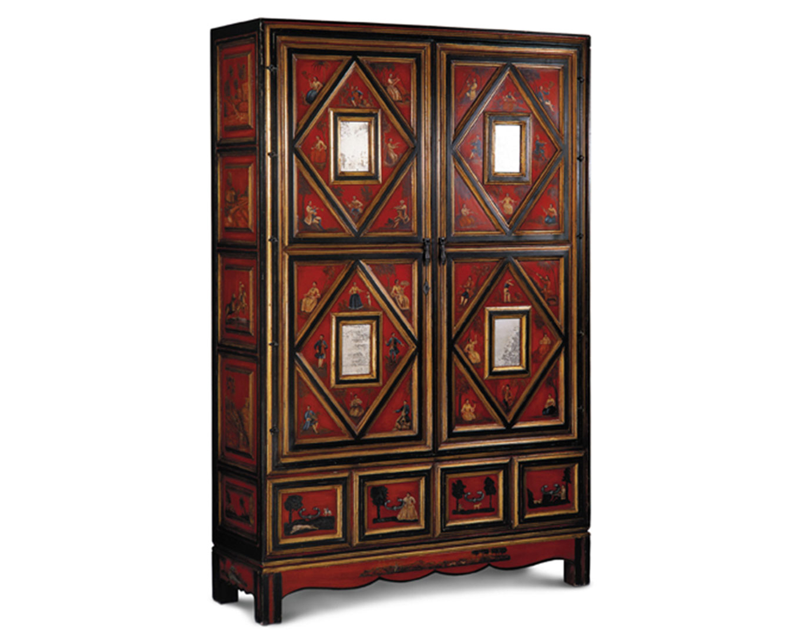 PAINTED ARMOIRE WITH MIRRORS II