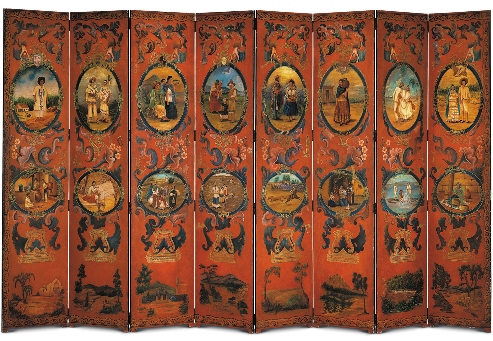 EIGHT PANEL SCREEN WITH OVALS